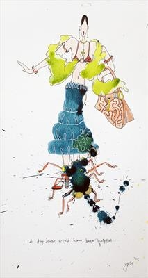A fly swat would have been useful... by Jenny George, Painting, Ink on Paper