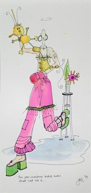 pink trousers by Jenny George, Painting, Ink on Paper